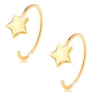 Cercei rotunzi din aur galben de 14K - steluță în cinci puncte imagine