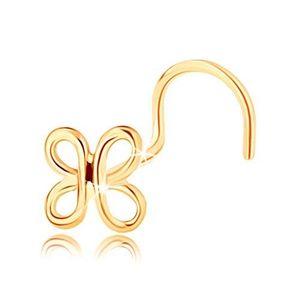 Piercing curbat pentru nas din aur 585 - contur lucios de fluture imagine