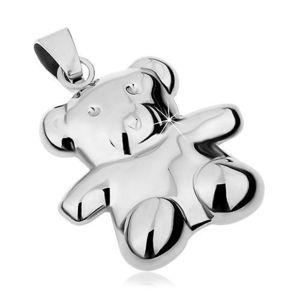Pandantiv realizat din oțel 316L de culoare argintie, urs cu două fețe, luciu intens imagine