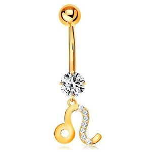 Piercing pentru buric din aur galben 9K - zirconiu transparent, semn zodiacal - LEU imagine