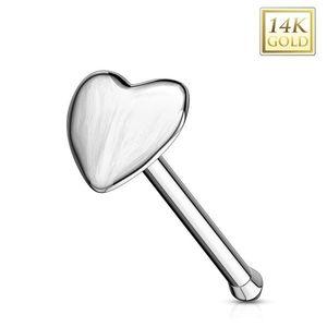 Piercing din aur alb de 14K pentru nas - formă dreaptă, inimă convexă imagine