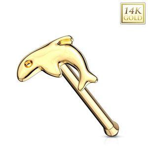 Piercing din aur galben de 14K pentru nas - formă dreaptă, delfin imagine