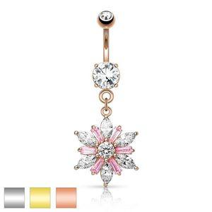 Piercing pentru buric din oțel inoxidabil - floare strălucitoare, zirconii transparente și roz, diverse culori - Culoare Piercing: Argintiu imagine