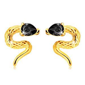 Cercei din aur galben 9K - șarpe răsucit cu un cap de zirconiu de culoare neagră imagine