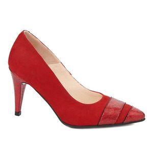Pantofi toc subtire din piele naturala rosie 4325 imagine