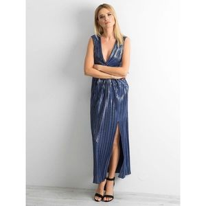 Long, pleated dress with a glossy dark blue color imagine
