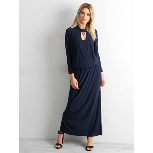 Long dress with a cut in navy blue imagine