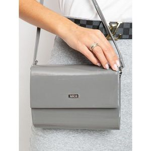 Lacquered gray clutch bag imagine