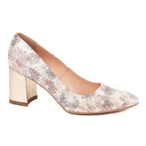 Pantofi dama toc gros din piele naturala cu model 4598 imagine