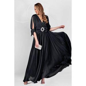 Rochie PrettyGirl neagra lunga de ocazie din voal clos cu elastic in talie cu maneci decupate imagine