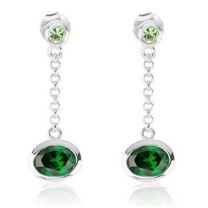Cercei lungi realizați din argint 925, zirconiu verde deschis și verde smarald, lănțișor imagine