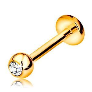 Piercing pentru buză sau bărbie din aur 9K - labret cu bilă cu zirconiu și cerc, 8 mm imagine