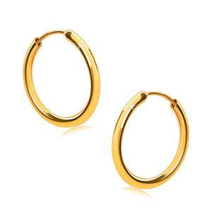 Cercei din aur 14K, cercuri, umeri rotunzi, suprafață netedă și strălucitoare, 14 mm imagine