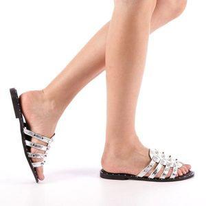 Papuci dama Iolanda argintii imagine