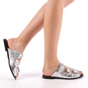 Papuci dama Luciana argintii imagine