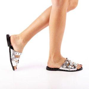Papuci dama Edith argintii imagine