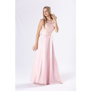 elegant maxi dress with a guipure top with sequins and a corset binding on the back imagine