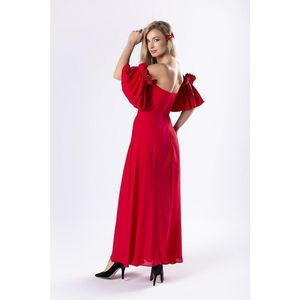 elegant maxi dress with a corset top and decorative sleeves with ruffles imagine