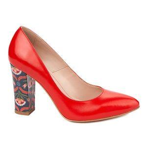 Pantofi dama toc gros din piele naturala rosie 4802 imagine