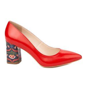 Pantofi dama toc gros din piele naturala rosie 4815 imagine