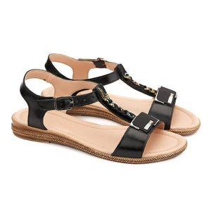 Sandale dama din piele neagra cu toc mic 2166 imagine