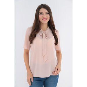 Bluza uni roz pudra cu funda imagine