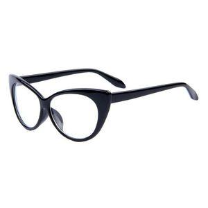 Ochelari tip rame cu lentile transparente Ochi de pisica Cat eye Negru imagine