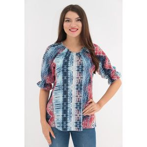 Bluza albastra cu print abstract rosu imagine