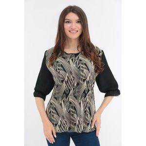 Bluza cu print abstract crem si spatele negru imagine