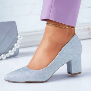 Pantofi Dama cu Toc Alexia Argintii #6682M imagine
