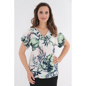 Bluza din vascoza alba cu imprimeu tropical imagine