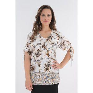 Bluza alba din vascoza cu print floral si fundite la maneci imagine