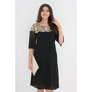 Rochie din voal negru cu broderie florala crem imagine