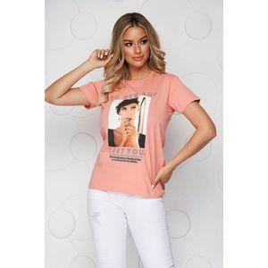Tricou SunShine roz din bumbac cu croi larg cu decolteu rotunjit si imprimeuri grafice imagine