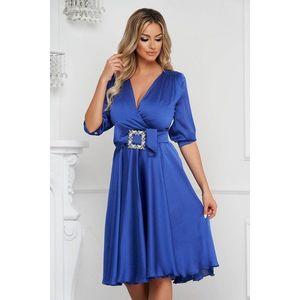 Rochie PrettyGirl albastra eleganta midi in clos din satin accesorizata cu o catarama imagine