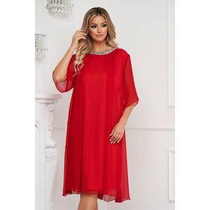 Rochie rosie midi din material creponat cu croi si maneci largi accesorizata cu pietre stras imagine