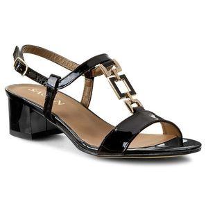 Sandale SAGAN - 2320 Czarny Lakier Złoty imagine