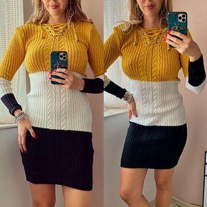 Rochie ieftina de zi din tricot galben cu snur la gat si imprimeu 3 culori imagine