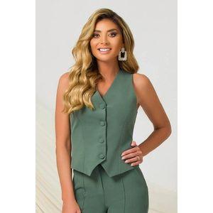 Vesta PrettyGirl verde office cu un croi cambrat din material usor elastic cu decolteu in v imagine