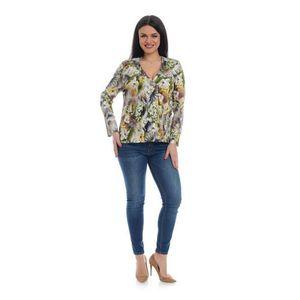 Bluza Dama Multicolora cu Imprimeu Floral si decolteu V imagine