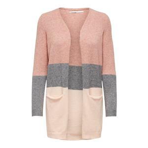 ONLY Geacă tricotată roz pal / gri amestecat / roz imagine