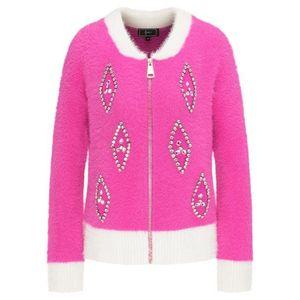 faina Geacă tricotată roz / alb lână imagine