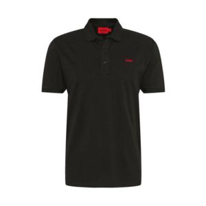 HUGO Tricou negru / roșu carmin imagine