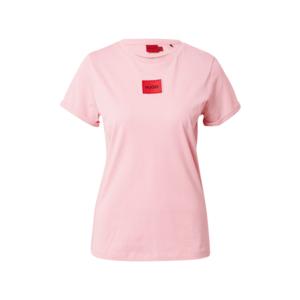 HUGO Tricou roșu / negru / roz deschis imagine